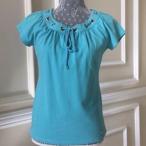 f5b007e2c014e ... L Michael Kors Turquoise Necktie Summer Top ...